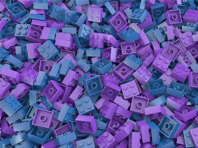 Bricks purple blue shiny brick lego 3d