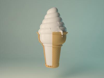 Ice Cream ice cream ice cream clue white brown cone melt drip