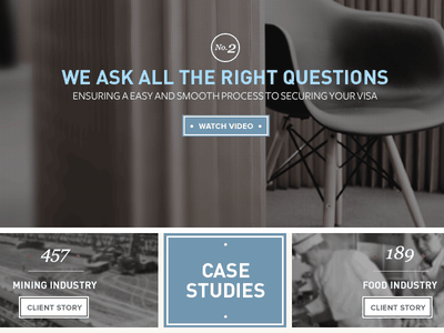 Immigration Visa Website lawyers tailored visa blue din freight georgia panel video blurred images case study ux melbourne