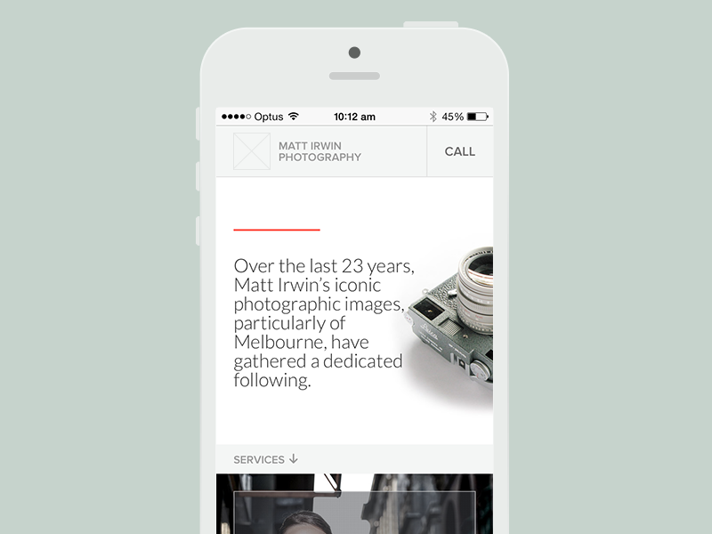 Photographer website mobile adaptive
