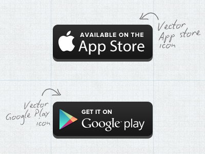 Free Vector Appstore/Googleplay Button free freebies psd vector download iphone mobile template android ux melbourne ios5