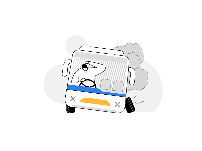 Oops! Something went wrong ⚠️- Please search a different bus smoke break down doubt bus tyre characters humans damage accident error 404 product illustration empty state error