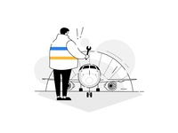 Oops! Something went wrong ⚠️- Please search a different flight character design characters empty state error spanner mechanic humans product illustration plane flights