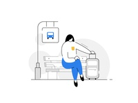 😀Your bus will arrive shortly 🚌🕒 empty state illustration product character design characters bench travel bag waiting woman humans travel journey traveller bus stop bus