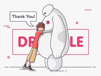Thank you Hug! big hero 6 hello dribbble debut invite hug baymax love thanks
