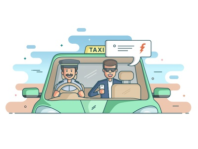 Meru Cabs illustration front view fashion green pastel car passenger driver taxi cab