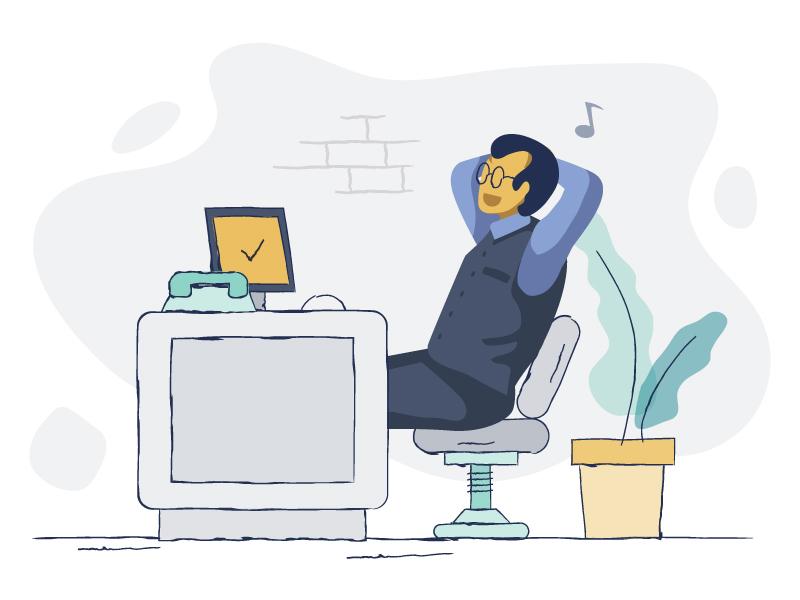 Front desk manager illustration logo design ui icon vector app branding ux web flat hotel