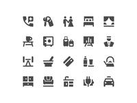Hotel amenities icon set
