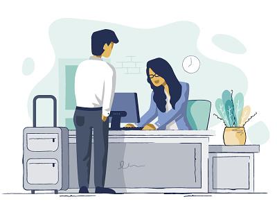Guest - Front Desk guest front desk pastels hotel flat web branding vector design app ui illustration