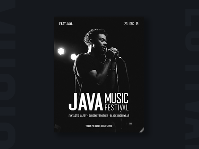 Java Music Festival Poster layout photoshop design dark black typeface font display music poster