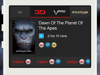 Cinema App ios app ux cinema movies session times filters scroller