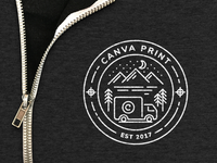Illustrated badge for Canva print launch swag