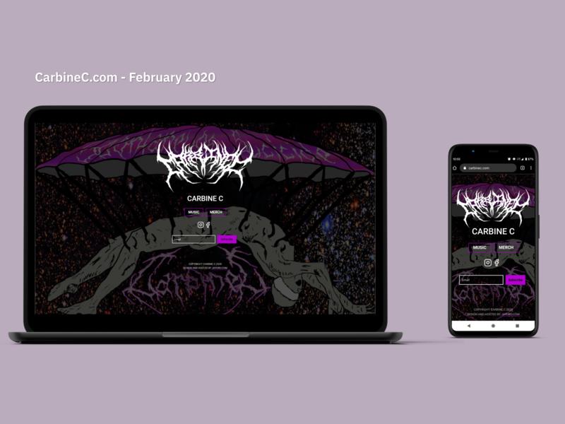Carbine C Music Artist Website bigcartel ecommerce shop artist website webdesign adobe xd music carbinec
