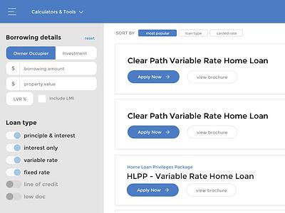 Bank of Queensland - Home loan browser filter form dashboad ui sketch