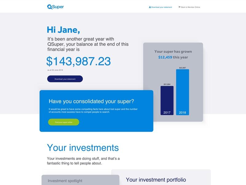 QSuper - Digital annual statement modular graph dashboad ui sketch