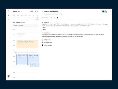 Note taking app for your calendar meeting management notes work branding note taking note task calendar ux ui app web design