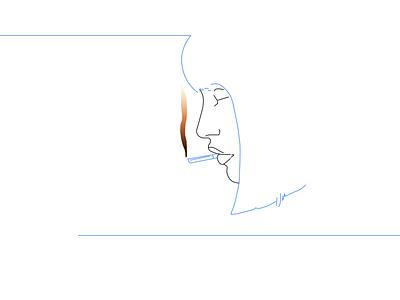 Smoker Woman smoke vector line hair fire cigarette illustration woman girl