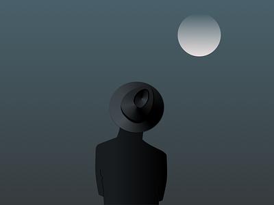 Man in a hat design vector fedora watch black moon illustration dark hat man
