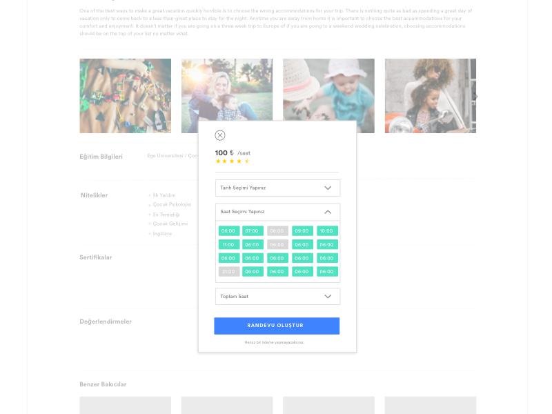 Order Modal baby sitter design modal order ui web