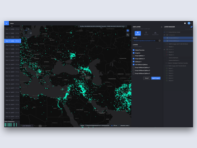 Add layer group and timeline ux desktop data interaction map gis dark experience dashboard web ui design