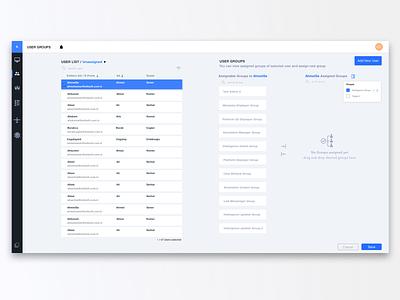 User Management Tool tool information table web design ui ux
