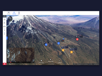 Swarm Management and Live Video dashboard swarm information data drone map gis ux ui design