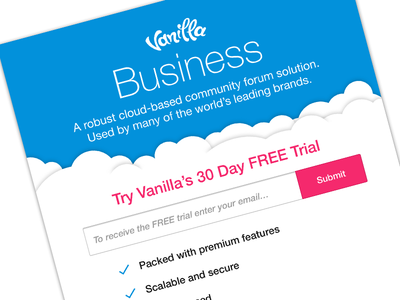 Vanilla Org home page trial blue business account vanilla forums