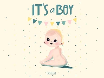 It's a boy cute postcard illustration boy
