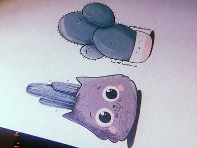 Cat sticker illustration cactus plant cat