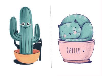 Catcus lover black pink cactus cat