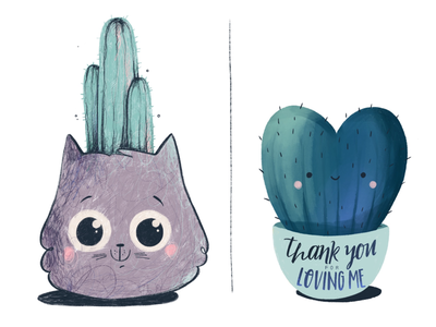 Thank you cute cactus lover cat thank you love