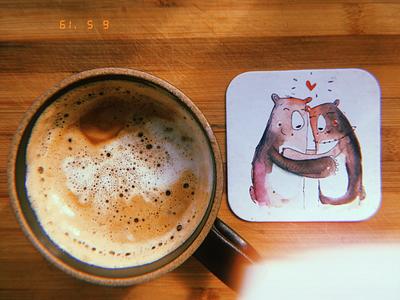 Coaster designs watercolors bears illustration coffee