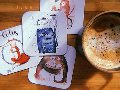 Coffee coasters animals cute illustration coaster coffee