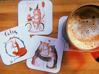 Coffee coasters cat bears fox coasters animals cute illustration