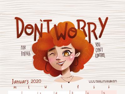 Calendar 2020 January procreate branding design love illustration cute girl calendar