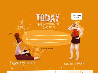 Calendar 2020 February power branding design procreate girl illustration
