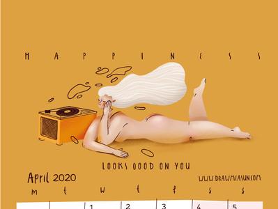 Calendar 2020 April yellow selfcare chill music design girl procreate illustration
