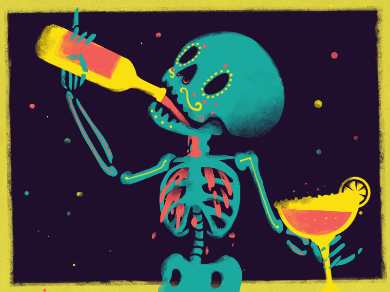 Party Time! day of the dead cinco de mayo teal yellow bottle skeleton bones margarita drinks illustration
