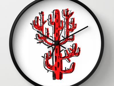 Cactus del miedo wall clock