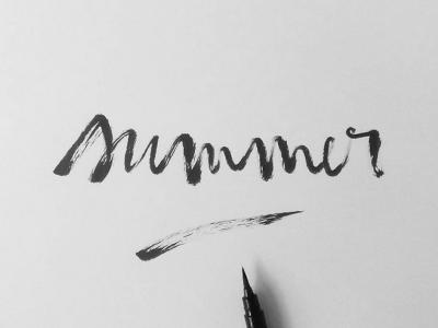 Summer blackandwhite typography graphicdesign brushlettering handlettering lettering