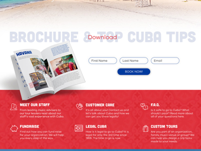 Website design for Cuba travel. Forms and advantages