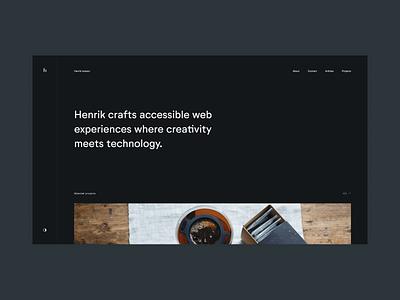 Hello Dribbble! debut first shot transitions gsap web design portfolio minimal clean monochrome