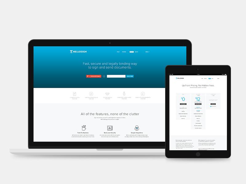 HelloSign website redesign website ui ux clean minimal web design homepage ipad web flat redesign layout