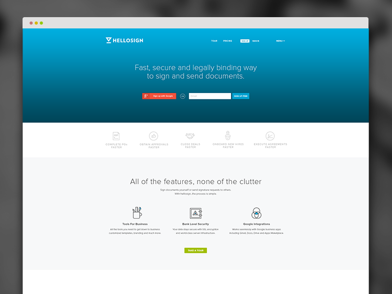 HelloSign Homepage website ui ux clean minimal web design homepage web flat redesign layout icons