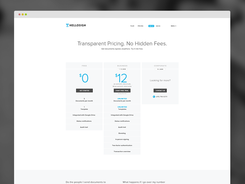 HelloSign Pricing Page website ui ux clean minimal web design pricing web flat redesign layout typography