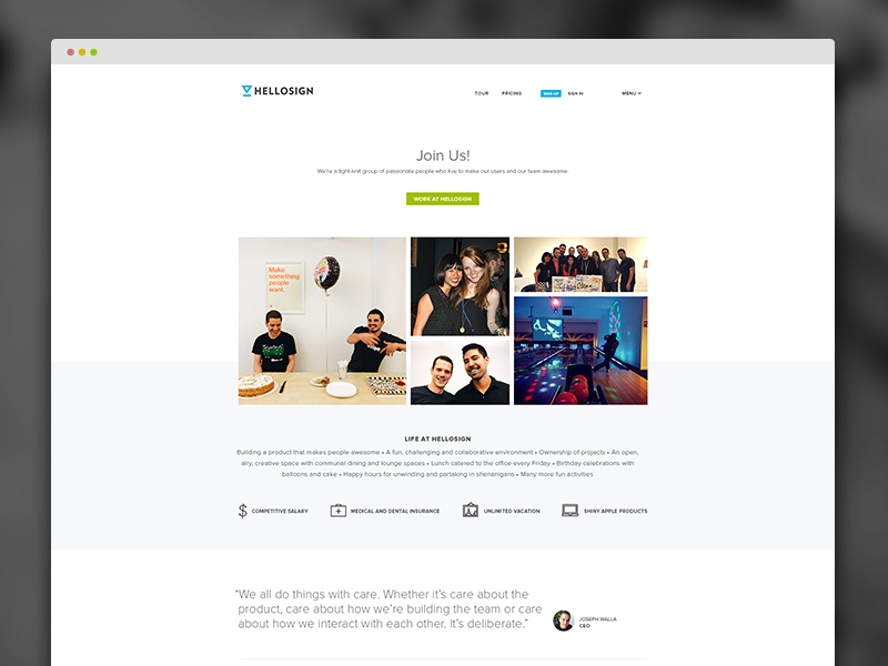 HelloSign Careers Page website ui jobs clean minimal web design careers web flat typography layout icons