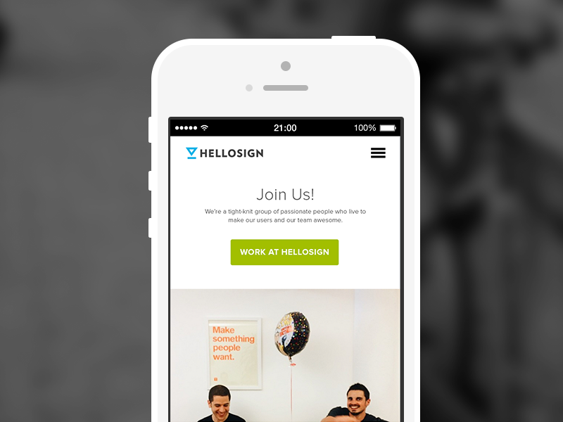 HelloSign Responsive Careers Page website iphone responsive hamburger careers typography button mobile ui web page menu logo