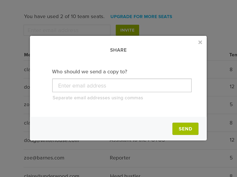 Share Modal hellosign esignatures ui ux typography web icons button user interface menu redesign modal