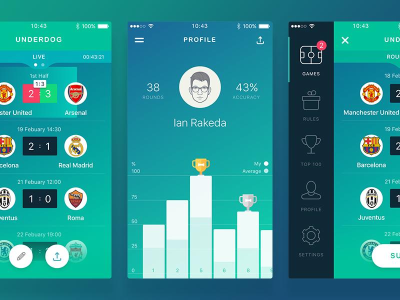 🐶 Underdog underdog sport soccer predict ios game football euro design app 2016