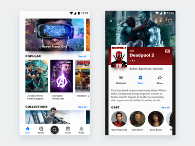 Simple Movie App for android interface mustapp watched want avengers popular deadpool card movie app must